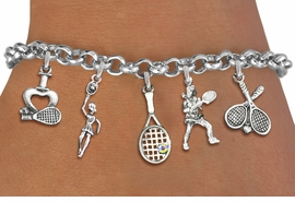 <Br>                    EXCLUSIVELY OURS!!<Br>              AN ALLAN ROBIN DESIGN!!<Br>        LEAD,CADIUM, & NICKEL FREE!! <Br>      W19545B - SILVER TONE TENNIS <BR>     THEMED FIVE CHARM BRACELET <BR>        FROM $7.31 TO $16.25  �2012