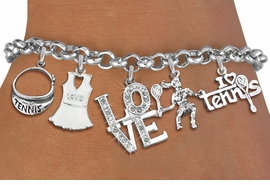 <Br>                 EXCLUSIVELY OURS!!<Br>           AN ALLAN ROBIN DESIGN!!<Br>       LEAD,CADIUM, & NICKEL FREE!! <Br>     W19548B - SILVER TONE TENNIS <BR>     THEMED FIVE CHARM BRACELET <BR>       FROM $8.66 TO $19.25  �2012
