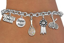 <Br>                 EXCLUSIVELY OURS!!<Br>           AN ALLAN ROBIN DESIGN!!<Br>    LEAD, CADMiUM, & NICKEL FREE!! <Br>     W19549B - SILVER TONE TENNIS <BR>     THEMED FIVE CHARM BRACELET <BR>        FROM $7.31 TO $16.25  �2012