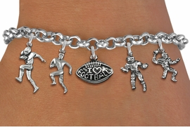 <Br>              EXCLUSIVELY OURS!!<Br>        AN ALLAN ROBIN DESIGN!!<Br>             LEAD & NICKEL FREE!! <Br>W19553B - SILVER TONE FOOTBALL <BR>     THEMED FIVE CHARM BRACELET <BR>        FROM $7.31 TO $16.25  �2012