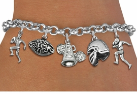 <Br>              EXCLUSIVELY OURS!!<Br>        AN ALLAN ROBIN DESIGN!!<Br>             LEAD & NICKEL FREE!! <Br>W19555B - SILVER TONE FOOTBALL <BR>     THEMED FIVE CHARM BRACELET <BR>        FROM $7.31 TO $16.25  �2012