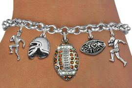 <Br>              EXCLUSIVELY OURS!!<Br>        AN ALLAN ROBIN DESIGN!!<Br>             LEAD & NICKEL FREE!! <Br>W19557B - SILVER TONE AND GENUINE <BR>CLEAR AND TOPAZ CRYSTAL FOOTBALL <BR>     THEMED FIVE CHARM BRACELET <BR>        FROM $8.66 TO $19.25  �2012