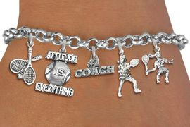 <Br>              EXCLUSIVELY OURS!!<Br>        AN ALLAN ROBIN DESIGN!!<Br>             LEAD & NICKEL FREE!! <Br>W19560B - SILVER TONE TENNIS <BR>COACH THEMED FIVE CHARM BRACELET <BR>        FROM $7.31 TO $16.25  �2012