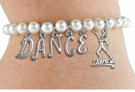 "<Br>              EXCLUSIVELY OURS!!<Br>        AN ALLAN ROBIN DESIGN!!<Br>             LEAD & NICKEL FREE!! <Br>W19574B - 6MM WHITE PEARL ""DANCE"" <BR> DANCER THEMED CHARM BRACELET  <BR>     FROM $8.44 TO $18.75  �2012"