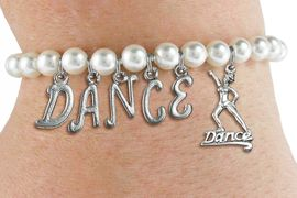 """<Br>              EXCLUSIVELY OURS!!<Br>        AN ALLAN ROBIN DESIGN!!<Br>             LEAD & NICKEL FREE!! <Br>W19574B - 6MM WHITE PEARL """"DANCE"""" <BR> DANCER THEMED CHARM BRACELET  <BR>     FROM $8.44 TO $18.75  �2012"""