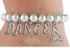 """<Br>              EXCLUSIVELY OURS!!<Br>        AN ALLAN ROBIN DESIGN!!<Br>             LEAD & NICKEL FREE!! <Br>W19575B - 8MM WHITE PEARL """"DANCE"""" <BR> DANCER THEMED CHARM BRACELET  <BR>     FROM $9.00 TO $20.00  �2012"""