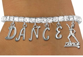 "<Br>                EXCLUSIVELY OURS!!<Br>            AN ALLAN ROBIN DESIGN!!<Br>    LEAD,CADMIUM, & NICKEL FREE!<Br>W19576B - AUSTRIAN CRYSTAL ""DANCE"" <BR>     DANCER THEMED CHARM BRACELET  <BR>           FROM $9.56 TO $21.25  �2012"