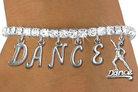 """<Br>                EXCLUSIVELY OURS!!<Br>            AN ALLAN ROBIN DESIGN!!<Br>    LEAD,CADMIUM, & NICKEL FREE!<Br>W19576B - AUSTRIAN CRYSTAL """"DANCE"""" <BR>     DANCER THEMED CHARM BRACELET  <BR>           FROM $9.56 TO $21.25  �2012"""