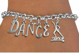 "<Br>              EXCLUSIVELY OURS!!<Br>        AN ALLAN ROBIN DESIGN!!<Br>             LEAD, CADMIUM, & NICKEL FREE!! <Br>W19578B - SILVER TONE ""DANCE"" <BR>DANCER THEMED CHARM BRACELET  <BR>     FROM $8.44 TO $18.75  �2012"