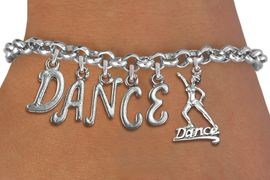 """<Br>              EXCLUSIVELY OURS!!<Br>        AN ALLAN ROBIN DESIGN!!<Br>             LEAD, CADMIUM, & NICKEL FREE!! <Br>W19578B - SILVER TONE """"DANCE"""" <BR>DANCER THEMED CHARM BRACELET  <BR>     FROM $8.44 TO $18.75  �2012"""