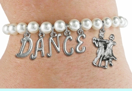 """<Br>              EXCLUSIVELY OURS!!<Br>        AN ALLAN ROBIN DESIGN!!<Br>             LEAD & NICKEL FREE!! <Br>W19597B - 6MM WHITE PEARL """"DANCE"""" <BR> BALL ROOM THEMED CHARM BRACELET  <BR>     FROM $8.44 TO $18.75  �2012"""
