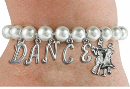 "<Br>              EXCLUSIVELY OURS!!<Br>        AN ALLAN ROBIN DESIGN!!<Br>             LEAD & NICKEL FREE!! <Br>W19598B - 8MM WHITE PEARL ""DANCE"" <BR>BALL ROOM THEMED CHARM BRACELET  <BR>     FROM $9.00 TO $20.00  �2012"