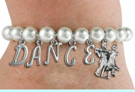 """<Br>              EXCLUSIVELY OURS!!<Br>        AN ALLAN ROBIN DESIGN!!<Br>             LEAD & NICKEL FREE!! <Br>W19598B - 8MM WHITE PEARL """"DANCE"""" <BR>BALL ROOM THEMED CHARM BRACELET  <BR>     FROM $9.00 TO $20.00  �2012"""