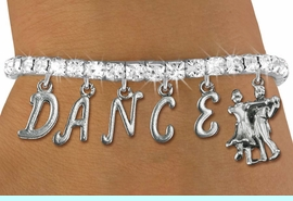 """<Br>              EXCLUSIVELY OURS!!<Br>        AN ALLAN ROBIN DESIGN!!<Br>             LEAD & NICKEL FREE!! <Br>W19599B - AUSTRIAN CRYSTAL """"DANCE"""" <BR>BALL ROOM THEMED CHARM BRACELET  <BR>     FROM $9.56 TO $21.25  �2012"""