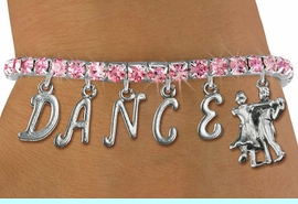 """<Br>              EXCLUSIVELY OURS!!<Br>        AN ALLAN ROBIN DESIGN!!<Br>             LEAD & NICKEL FREE!! <Br>W19600B - ROSE TINTED CRYSTAL """"DANCE"""" <BR>BALL ROOM THEMED CHARM BRACELET  <BR>     FROM $9.56 TO $21.25  �2012"""