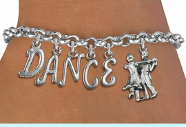 """<Br>              EXCLUSIVELY OURS!!<Br>        AN ALLAN ROBIN DESIGN!!<Br>             LEAD & NICKEL FREE!! <Br>W19601B - SILVER TONE """"DANCE"""" <BR>BALL ROOM THEMED CHARM BRACELET  <BR>     FROM $8.44 TO $18.75  �2012"""