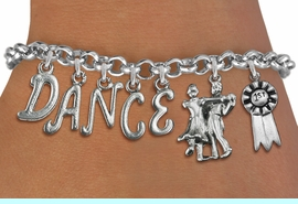 """<Br>              EXCLUSIVELY OURS!!<Br>        AN ALLAN ROBIN DESIGN!!<Br>             LEAD & NICKEL FREE!! <Br>W19602B - SILVER TONE """"DANCE"""" <BR>1st PLACE BALL ROOM THEMED CHARM <BR>BRACELET FROM $9.56 TO $21.25  �2012"""