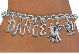 "<Br>              EXCLUSIVELY OURS!!<Br>        AN ALLAN ROBIN DESIGN!!<Br>             LEAD & NICKEL FREE!! <Br>W19603B - SILVER TONE ""DANCE"" <BR>1st PLACE BALL ROOM THEMED CHARM <BR>BRACELET FROM $9.56 TO $21.25  �2012"