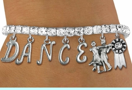"""<Br>              EXCLUSIVELY OURS!!<Br>        AN ALLAN ROBIN DESIGN!!<Br>             LEAD & NICKEL FREE!! <Br>W19604B - AUSTRIAN CRYSTAL """"DANCE"""" <BR>1st PLACE BALL ROOM THEMED CHARM <BR>BRACELET FROM $10.69 TO $23.75 �2012"""