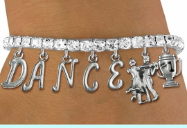 """<Br>              EXCLUSIVELY OURS!!<Br>        AN ALLAN ROBIN DESIGN!!<Br>             LEAD & NICKEL FREE!! <Br>W19605B - AUSTRIAN CRYSTAL """"DANCE"""" <BR>1st PLACE BALL ROOM THEMED CHARM <BR>BRACELET FROM $10.69 TO $23.75 �2012"""