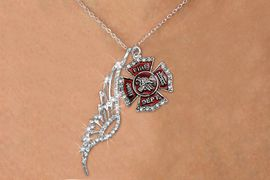 <Br>                   EXCLUSIVELY OURS!!<Br>              AN ALLAN ROBIN DESIGN!!<Br>                   LEAD & NICKEL FREE!! <Br>W19660N - ELEGANT AUSTRIAN CRYSTAL <Br>ACCENTED ANGEL WING PENDANT AND <Br>CRYSTAL  ST. FLORIAN FIREMAN CROSS <BR>   & NECKLACE FROM $7.65 TO $17.00