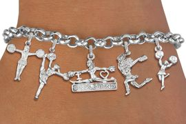 <Br>              EXCLUSIVELY OURS!!<Br>        AN ALLAN ROBIN DESIGN!!<Br>    LEAD, CADMIUM, & NICKEL FREE!! <Br>W19741B - SILVER TONE CHEERLEADING <BR>     THEMED FIVE CHARM BRACELET <BR>        FROM $8.61 TO $12.50  �2012