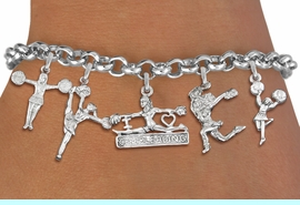 <Br>              EXCLUSIVELY OURS!!<Br>        AN ALLAN ROBIN DESIGN!!<Br>    LEAD, CADMIUM, & NICKEL FREE!! <Br>W19741B2 - SILVER TONE CHEERLEADING <BR>     THEMED FIVE CHARM BRACELET <BR>                     $10.38 EACH  �2012