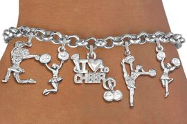 <Br>                  EXCLUSIVELY OURS!!<Br>            AN ALLAN ROBIN DESIGN!!<Br>    LEAD, CADMIUM, & NICKEL FREE!! <Br>W19742B - SILVER TONE CHEERLEADING <BR>     THEMED FIVE CHARM BRACELET <BR>        FROM $8.61 TO $12.50  �2012