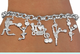 <Br>                  EXCLUSIVELY OURS!!<Br>            AN ALLAN ROBIN DESIGN!!<Br>    LEAD, CADMIUM, & NICKEL FREE!! <Br>W19742B2 - SILVER TONE CHEERLEADING <BR>     THEMED FIVE CHARM BRACELET <BR>                   $10.38 EACH  �2012