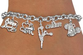 <Br>                  EXCLUSIVELY OURS!!<Br>            AN ALLAN ROBIN DESIGN!!<Br>    LEAD, CADMIUM, & NICKEL FREE!! <Br>W19743B - SILVER TONE CHEERLEADING <BR>     THEMED FIVE CHARM BRACELET <BR>        FROM $8.61 TO $12.50  �2012