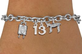 """<bR>               EXCLUSIVELY OURS!!<BR>         AN ALLAN ROBIN DESIGN!!<BR>            LEAD & NICKEL FREE!! <BR>W19809B - JEWISH BAS MITZVAH <BR>  """"13"""", TORAH AND CHAI CHARM <BR>BRACELET FROM $5.63 TO $12.50 �2012"""