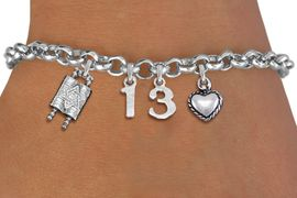 """<bR>               EXCLUSIVELY OURS!!<BR>         AN ALLAN ROBIN DESIGN!!<BR>            LEAD & NICKEL FREE!! <BR>W19810B - JEWISH BAS MITZVAH <BR>  """"13"""", TORAH AND HEART CHARM <BR>BRACELET FROM $5.63 TO $12.50 �2012"""