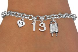 """<bR>               EXCLUSIVELY OURS!!<BR>         AN ALLAN ROBIN DESIGN!!<BR>            LEAD & NICKEL FREE!! <BR>W19811B - JEWISH BAS MITZVAH <BR>  """"13"""", """"SIS""""HEART AND TORAH CHARM <BR>BRACELET FROM $5.63 TO $12.50 �2012"""