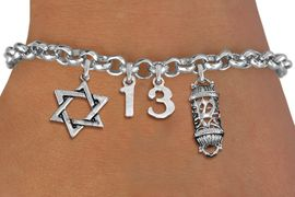 """<bR>               EXCLUSIVELY OURS!!<BR>         AN ALLAN ROBIN DESIGN!!<BR>            LEAD & NICKEL FREE!! <BR>W19812B - JEWISH BAS MITZVAH <BR>""""13"""", STAR OF DAVID AND MEZUZAH CHARM <BR>BRACELET FROM $5.63 TO $12.50 �2012"""