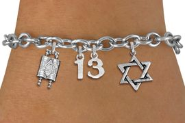 "<bR>               EXCLUSIVELY OURS!!<BR>         AN ALLAN ROBIN DESIGN!!<BR>            LEAD & NICKEL FREE!! <BR>W19813B - JEWISH BAS MITZVAH ""13"" <BR>TORAH SCROLLS AND STAR OF DAVID CHARM <BR>BRACELET FROM $5.63 TO $12.50 �2012"