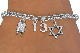 """<bR>               EXCLUSIVELY OURS!!<BR>         AN ALLAN ROBIN DESIGN!!<BR>            LEAD & NICKEL FREE!! <BR>W19813B - JEWISH BAS MITZVAH """"13"""" <BR>TORAH SCROLLS AND STAR OF DAVID CHARM <BR>BRACELET FROM $5.63 TO $12.50 �2012"""