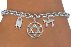 "<bR>               EXCLUSIVELY OURS!!<BR>         AN ALLAN ROBIN DESIGN!!<BR>            LEAD & NICKEL FREE!! <BR>W19814B - JEWISH BAS MITZVAH <BR>TORAH SCROLLS AND JEWISH ""CHAI"" CHARMS <BR>AUSTRIAN CRYSTAL STAR OF DAVID CHARM <BR>BRACELET FROM $5.63 TO $12.50 �2012"