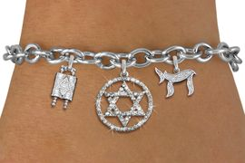 """<bR>               EXCLUSIVELY OURS!!<BR>         AN ALLAN ROBIN DESIGN!!<BR>            LEAD & NICKEL FREE!! <BR>W19814B - JEWISH BAS MITZVAH <BR>TORAH SCROLLS AND JEWISH """"CHAI"""" CHARMS <BR>AUSTRIAN CRYSTAL STAR OF DAVID CHARM <BR>BRACELET FROM $5.63 TO $12.50 �2012"""