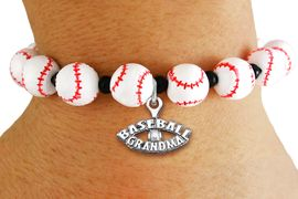 "<Br>                  EXCLUSIVELY OURS!!<Br>            AN ALLAN ROBIN DESIGN!!<Br>                 LEAD & NICKEL FREE!! <Br>W19928B - WHITE STRETCH BASEBALL <BR>   THEMED CHARM BRACELET WITH A<BR> ""BASEBALL GRANDMA"" SILVER TONE CHARM <BR>      FROM $6.19 TO $13.75 �2012"
