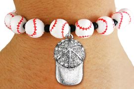 <Br>                  EXCLUSIVELY OURS!!<Br>            AN ALLAN ROBIN DESIGN!!<Br>                 LEAD & NICKEL FREE!! <Br>W19929B - WHITE STRETCH BASEBALL <BR>   THEMED CHARM BRACELET WITH A<BR> CRYSTAL BALL CAP SILVER TONE CHARM <BR>      FROM $6.75 TO $15.00 �2012