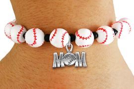"""<Br>                  EXCLUSIVELY OURS!!<Br>            AN ALLAN ROBIN DESIGN!!<Br>                 LEAD & NICKEL FREE!! <Br>W19930B - WHITE STRETCH BASEBALL <BR>   THEMED CHARM BRACELET WITH A<BR> """"BASEBALL MOM"""" SILVER TONE CHARM <BR>      FROM $6.19 TO $13.75 �2012"""