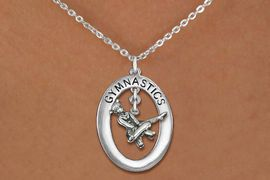 "<bR>                   EXCLUSIVELY OURS!! <BR>              AN ALLAN ROBIN DESIGN!!<BR>                 LEAD & NICKEL FREE!! <BR> W19963N -  SILVER TONE ""GYMNASTICS"" <BR>    OVAL WITH POMMEL HORSE GYMNAST <BR>       CHARM ON CHAIN LINK NECKLACE <BR>            FROM $6.41 TO $14.25 �2013"