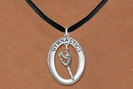 "<bR>                   EXCLUSIVELY OURS!! <BR>              AN ALLAN ROBIN DESIGN!!<BR>                 LEAD & NICKEL FREE!! <BR> W19973N -  SILVER TONE ""GYMNASTICS"" <BR>   OVAL WITH LEAPING POSE GYMNAST <BR>    CHARM ON BLACK SUEDE NECKLACE <BR>            FROM $6.41 TO $14.25 �2013"