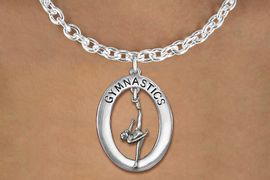 "<bR>                   EXCLUSIVELY OURS!! <BR>              AN ALLAN ROBIN DESIGN!!<BR>                 LEAD & NICKEL FREE!! <BR> W19979N -  SILVER TONE ""GYMNASTICS"" <BR>     OVAL WITH ONE LEG POSE GYMNAST <BR>     CHARM ON TOGGLE CHAIN NECKLACE <BR>            FROM $6.41 TO $14.25 �2013"