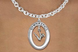 "<bR>                   EXCLUSIVELY OURS!! <BR>              AN ALLAN ROBIN DESIGN!!<BR>                 LEAD & NICKEL FREE!! <BR> W19983N -  SILVER TONE ""GYMNASTICS"" <BR>    OVAL WITH GYMNAST ON UNEVEN BARS<BR>     CHARM ON TOGGLE CHAIN NECKLACE <BR>            FROM $6.41 TO $14.25 �2013"