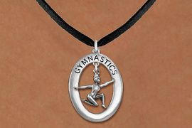 "<bR>                   EXCLUSIVELY OURS!! <BR>              AN ALLAN ROBIN DESIGN!!<BR>                 LEAD & NICKEL FREE!! <BR> W19985N -  SILVER TONE ""GYMNASTICS"" <BR>      OVAL WITH FLOOR POSED GYMNAST <BR>      CHARM ON BLACK SUEDE NECKLACE <BR>            FROM $6.41 TO $14.25 �2013"