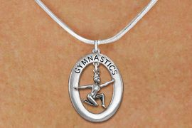 "<bR>                   EXCLUSIVELY OURS!! <BR>              AN ALLAN ROBIN DESIGN!!<BR>                 LEAD & NICKEL FREE!! <BR> W19986N -  SILVER TONE ""GYMNASTICS"" <BR>      OVAL WITH FLOOR POSED GYMNAST <BR>      CHARM ON SNAKE CHAIN NECKLACE <BR>            FROM $6.41 TO $14.25 �2013"