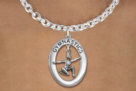"<bR>                   EXCLUSIVELY OURS!! <BR>              AN ALLAN ROBIN DESIGN!!<BR>                 LEAD & NICKEL FREE!! <BR> W19987N -  SILVER TONE ""GYMNASTICS"" <BR>      OVAL WITH FLOOR POSED GYMNAST <BR>     CHARM ON TOGGLE CHAIN NECKLACE <BR>            FROM $6.41 TO $14.25 �2013"
