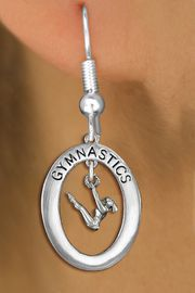 "<bR>                   EXCLUSIVELY OURS!! <BR>              AN ALLAN ROBIN DESIGN!!<BR>                 LEAD & NICKEL FREE!! <BR> W19991E -  SILVER TONE ""GYMNASTICS"" <BR>     OVAL WITH GYMNAST ON UNEVEN BAR <BR>      CHARM ON FISHHOOK EARRINGS <BR>            FROM $9.00 TO $20.00 �2013"