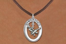 "<bR>                   EXCLUSIVELY OURS!! <BR>              AN ALLAN ROBIN DESIGN!!<BR>                 LEAD & NICKEL FREE!! <BR> W19993N -  SILVER TONE ""GYMNASTICS"" <BR>    OVAL WITH POMMEL HORSE GYMNAST <BR>     CHARM ON BROWN SUEDE NECKLACE <BR>            FROM $6.41 TO $14.25 �2013"